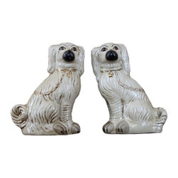 White Dogs, Set Of 2 - Pair of white dogs with chains. Reproduction Staffordshire.