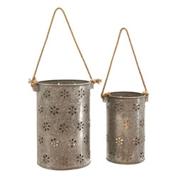 Benzara - Beautiful Metal Galvanized Lantern - Set of 2 - Elegant and attractive, this beautiful Metal Galvanized Lantern is designed with great finesse and makes for an elegant addition to casual setups. Flaunting a pail-like design, these lanterns are detailed with a filigree style pattern for a unique appeal. The lanterns are available in a set of two and feature identical detailing for a charming look. The open top construction makes it easy to insert a candle inside while the dainty floral accents give off light for a charming look. Provided with cord-like handles, these lanterns allow for hassle-free transportation. Durably constructed from galvanized metal, these lanterns promise durability and are ideal for indoor and outdoor usage. This chic set of lanterns is a perfect gift to your dear and near ones on festive occasions.