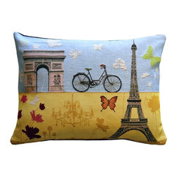 "Pillow Decor Ltd. - Summer in Paris Tapestry Throw Pillow, 15 by 20 - Say ""oui"" to this picturesque French accent pillow. Featuring the famous Arc de Triomphe, this pillow will have you ready for a charming bike ride down the Champs-Élysées. If you love Paris in the summer when it sizzles, you'll appreciate its sunny color palette in chic French tapestry."