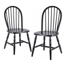 Winsome - Set of 2 Windsor Chairs with curved legs - Quality built Windsor chair. Solid wood construction and all assembled. Carved Leg. Smooth Contour seat gives extra comfy.