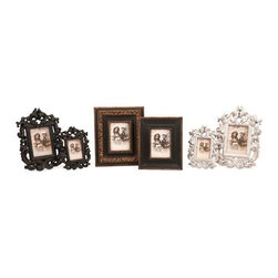 iMax - Bryant Carved Frames, Set of 6 - Frame your memories with these beautifully antiqued picture frames. Three sets of two matching frames - each set one 5x7 and one 4x6 - with classic carved details, compliment each other perfectly to display your photos on a mantle or table top.