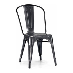 Design Lab MN - Amalfi Stackable Vintage Side Chair Set of 4, Dark Gunmetal - This modern vintage chair fashioned after the original Tolix Chair makes the perfect dining or industrial restaurant chair, with its dark gunmetal finish and strong, rolled steel frame.