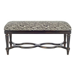 Safavieh - Safavieh Garret Bench X-A1304HMA - Chic zebra stripes on durable cotton fabric add cosmopolitan flair to the Garret Bench's curvaceous birch wood legs with cappuccino finish.  Its Old World charm and feminine silhouette lend splendor to traditional decor.