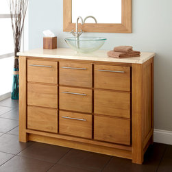 """48"""" Venica Teak Vessel Sink Vanity - The 48"""" Venica Vanity provides abundant storage and brightens a bathroom with the gorgeous honey color of natural teak."""