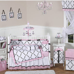 Sweet Jojo Designs - Princess Black, White and Pink Collection 9pc Crib Bedding Set - Features: -Includes baby blanket, crib bumper, crib skirt (dust ruffle), fitted sheet, toy bag, decorative throw pillow, diaper stacker and 2 window valances. -Pink, Black and White Princess collection. -Stylish color palette of black and white. -Made of 100% cotton fabrics and accent fabrics including brushed microfiber, satin, and sheer organza. -Fits all standard cribs and toddler mattresses. -Offers many coordinating accessories including sheets, wall dcor, window treatments and more. -Machine washable and dryable.