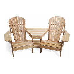 All Things Cedar - CEDAR Adirondack Outdoor Corner Tete-a-Tete - Comfortable adirondack seating for 2 with designer corner table and lower magazine rack Item is made to order.