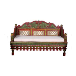 Wooden Single Back Sofa Set - Wooden Carved Sofa Set With Back Side Carved 3 piece Set. Elegant back carvings and front decorative design is remanence of the culture Jadejas of Gujarat from 9th century. These carvings were especially found in the vacation homes of the royals.