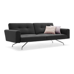 Aidan Convertible Sofa - Modern styling meets modern utility in a glorious union on this low-slung, contemporary sofa bed. Like a little black dress for your living room, it seems to float above the floor on narrow chrome legs. Its compact frame drops easily into a bed, making it a useful and handsome addition for small spaces.