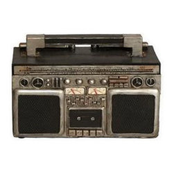 Boom Box Bank - Crank up the volume on your savings plan with this Boom Box Bank. Featuring the shape and design of an old-school boom box, the coin bank adds personality to your favorite shelf or table.