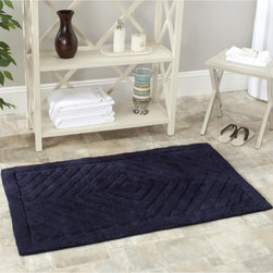 Safavieh - Spa 2400 Gram Diamonds Navy Gram 27 x 45 Bath Rug (Set of 2) - Turn any bathroom into a spa with an ultra luxurious extra dense bath rug. Bath rug measures 27 inches x 45 inches and this item comes in a set of two. Color is navy. Machine washable.