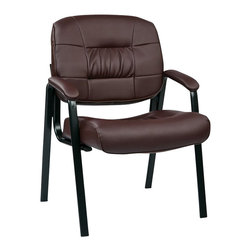 Office Star - Office Star EC Series Eco Leather Visitors Chair in Burgundy - Office Star - Guest Chairs - EC8124EC4 - Eco Leather Visitors Chair with Steal Base and Padded Arms. Perfect for reception rooms or waiting areas. You can choose from a black leather or a burgundy colored visitors chair to match your setting.