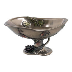 US - 9.25 Inch Victorian Ceramic Look Condiment Dish Lotus Koi and Leaves - This gorgeous 9.25 Inch Victorian Ceramic Look Condiment Dish Lotus Koi and Leaves has the finest details and highest quality you will find anywhere! 9.25 Inch Victorian Ceramic Look Condiment Dish Lotus Koi and Leaves is truly remarkable.