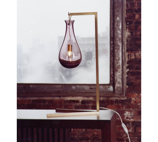 Bubble Desk Lamp, by Patrick Naggar - Colored glass suspended from a minimal metal base, like a droplet waiting to fall. Many color choices. Wall sconce available.