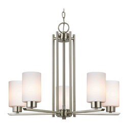 Design Classics Lighting - Modern Chandelier with White Glass in Satin Nickel Finish - 1120-1-09 GL1028C - Contemporary / modern satin nickel 5-light chandelier. Takes (5) 100-watt incandescent A19 bulb(s). Bulb(s) sold separately. UL listed. Dry location rated.