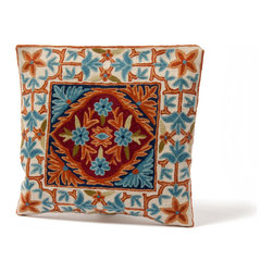 Sitara Collections - Floral Cushion Cover from Kashmir with Dense Chain Stitch Embroidery - Our Woolen Cushiom Cover is a Unique Way to Persomalize Your Space. Handmade in the Famed Kashmir Regiom of india, this Charming Cover Gracefully Blends Sunset orange and Ice Blue in an Eye-Catching accessory That's Truly a ome-of-a-Kind Find. Color: Blue, orange om a Beige Background Material: Wool Thread om Pure Cottom Cushiom inserts are Not included Closure: Slit Care instructioms: Dry Clean omly Dimensioms: 16 inches X 16 inches Set includes ome (1) Pillow Cushiom Cover.