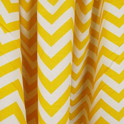 Zig Zag Corn Yellow Slub Chevron Fabric By The Yard - Zig Zag Corn Yellow Slub is a yellow on white chevron drapery weight fabric. Made of cotton this fabric can be used for bedding, pillow, and other window treatments.