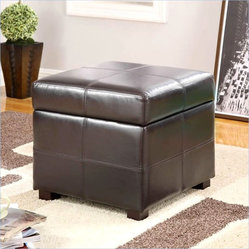 Modus Urban Seating Storage Cube Ottoman in Chocolate Brown Leatherette