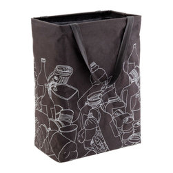Recycling Bag in Gray - Reducing, reusing and recycling isn't always pretty. Start recycling smart with this 100% laminated cotton canvas bag, which lets you fold and hide the container when it's empty of bottles and recyclable goods. Simply wipe clean with a damp cloth when dirty. Portable and easy on the eyes with a cool, modern external design and two loop handles for carrying.