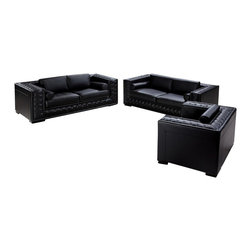 VIG Furniture - Dublin Black Top Grain Leather 3 Piece Sofa Set With Tufted Design - The Dublin sofa set has an elegant modern design that goes well with any decor. This sectional come upholstered in a beautiful black top grain leather in the front where your body touches. Skillfully chosen match material is used on the back and sides where contact is minimal. The sofa set features a stylish tufted design along the arms. High density foam is placed within the sofa set for added comfort. The sofa set includes a sofa, loveseat, and chair only.