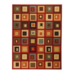 None - Dark Red Contemporary Boxes Design Non-skid Area Rug (3'3 x 5') - This casual,contemporary rug can fit any home decor. Features a fun geometric design and non-skid backing.