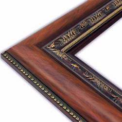 The Frame Guys - Wide Slope Brown with Ornate Edge Picture Frame-Solid Wood, 10x10 - *Wide Slope Brown with Ornate Edge Picture Frame-Solid Wood, 10x10