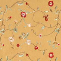 Gold Green Red Ivory Embroidered Floral Vine Suede Upholstery Fabric By The Yard - P4421 is a heavy duty upholstery grade suede polyester fabric. This fabric is great for all indoor applications.