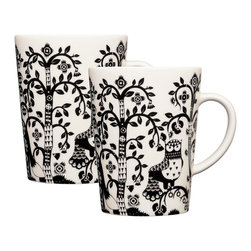 iittala Taika Mug 16 oz  Set of Two Black - Iittala Taika is part of the whimsical Taika series, illustrated by Klaus Haapaniemi for Iittala in 2007. Available in white, blue and black the design draws upon folklore for a fanciful design that is visually stunning. Taika means 'magic' in Finnish and the classic forms designed by Heikki Orvola combine well with other Iittala collections, brings a playful magic to your table.