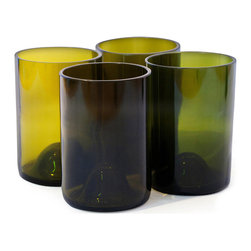 Bottles & Wood - Wine Bottle Tumbler Glasses - (Set of 4), Olive - These beautiful wine bottle tumbler glasses are a great gift for the wine drinker on your gift list. The resilient bottles are carefully crafted by local artisans to create these rugged glasses that will stand up to all the toasts you can come up with. Cheers!