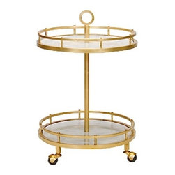 Worlds away - Worlds Away Emery Gold Leaf and Marble bar cart - Worlds Away Emery Gold Leaf and Marble bar cart
