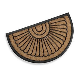 Bacova Guild, Ltd. - Koko Peacock Fan Rubber Doormat - This half round coir and rubber mat in a classic fan design will add an elegant touch to any doorway. The rugged coir fiber resists wear and helps to scrape shoes clean.