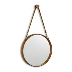 Kathy Kuo Home - Havana Contemporary Leather Hanging Round Mirror - Classic equestrian influences inform this most stylish mirror, which hangs from a matching brass and leather finished knob.  Whether found in town or country, this piece offers traditional, timeless style.