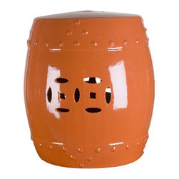 "Oriental Danny - Garden stool - Large size garden stool in Happy Orange color. Great as side tables. Can be used indoor and outdoor. Hand glazed color. Large size: 15"" diameter x 20"" height"
