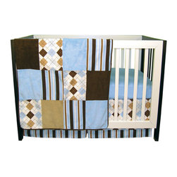 """Trend Lab - Prep School Blue - 3 Piece Crib Bedding Set - Trend Lab's Prep School Blue 3 Piece Crib Bedding Set mixes fun and sophisticated classic argyle with stripes and solids in a contemporary color palette of sky blue, chocolate, caramel and white. The luscious combination of soft cotton, cozy velour, and luxurious ultrasuede fabrics will create an amazing textural dream for your preppy little baby. Set includes quilt, crib sheet and skirt. The quilt measures 35"""" x 45"""" and features patches of an argyle and stripe print in sky blue, chocolate, caramel and white. Prints are accented by patches of soft sky blue and caramel velour and chocolate ultrasuede. A chocolate ultrasuede trim adds the finishing touch. Sky blue crib sheet features 10"""" deep pockets and fits a standard 52"""" x 28"""" crib mattress. Elastic around the entire opening ensures a more secure fit. Box pleat skirt with 15"""" drop features the sky blue, chocolate, caramel and white argyle print with matching stripe print across the bottom. Matching Prep School Blue Crib Bumpers sold separately. Complete your nursery with coordinating room accessories from the Prep School Blue collection by Trend Lab."""