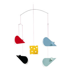 Flensted Mobiles - Cheese Mice Mobile, Black and Gray - The big cheese! Four mice compete to get the last coveted slice in this whimsical mobile. It will make a playful addition to your wine cellar, kitchen or dining room. The slightest breeze will send the mini rat pack scurrying in all directions.