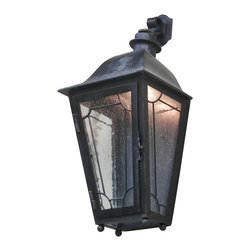 Custom Exterior Iron Lights - Classic and elegant design in this exterior hand forged iron half wall lantern with 2 lights. Clear seeded glass, powder coat base and an additional hand applied color finish for that Old World look are elements that are always included in our exterior pieces.