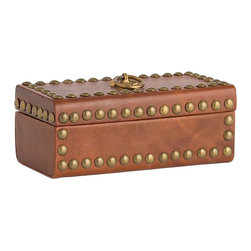 Arteriors - Wyeth Box - This small, antique brass studded caramel leather box looks like a treasure chest from an old N.C. Wyeth illustration.  Use anywhere you need to hide something small: remotes, keys, jewelry, etc. The printed paper lining is sublime.