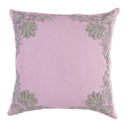 Vintage Maya - Tivoli Embroidered Pillow Cover - Mauve is mesmerizing and grey is gracious. The creative combination of these two makes our Tivoli pillows stand out from the crowd. These 450 thread count cotton pillows are inspired by the Carlsberg castle of Copenhagen. The handmade decorative 16X16 size throw pillows have a hidden zipper. Hand crafted thick grey embroidery adorns the body of these toss pillows for couch. Whatever the theme of your room, whatever the color combination of your furniture and walls, you can be sure that the Tivoli pillow will add to it. Get ready to bring Carslberg into your home!