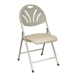 Office Star - Office Star Folding Chair with Beige Plastic Fan Back and Beige Mesh Seat - Folding Fan Back Chair with Beige Plastic Back and Beige Mesh Seat (4-Pack).
