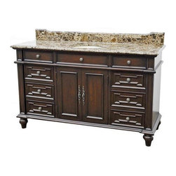 "Classic Design - 60"" Double Sink Vanity/Brown Marble Top - 60"" Double Sink Vanity/Brown Marble Top. Dimensions: 60 in. x 21.5 in. x 36.5 in."
