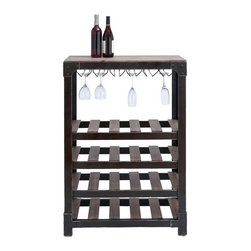 Benzara Inc - Woodland Imports Belfort 4 Tier Wood Slat Wine and Stemware Rack Multicolor - 92 - Shop for Wine Bottle Holders and Racks from Hayneedle.com! The Woodland Imports Belfort 4 Tier Wood Slat Wine and Stemware Rack offers an all-in-one spot for storage and serving. Expertly crafted of solid hardwood with a rustic natural brown finish this handsome wine rack carries up to 20 wine bottles and features four slatted shelves a handy stemware rack and serving tabletop.