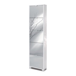 Sarmog - Glossy White Shoes Rack with 5 Folding Single-Depth Mirror Doors - Made in engineered wood and coated with glossy white.