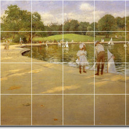 Picture-Tiles, LLC - The Lake For Miniature Yachts Central Park Tile Mural By William Chase - * MURAL SIZE: 32x48 inch tile mural using (24) 8x8 ceramic tiles-satin finish.