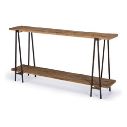 Kathy Kuo Home - Bartlett Rustic Lodge Wood Metal Rectangle Console Table - Sometimes, the simplest of designs prove to be the most beautiful. Two rough-hewn boards combined with a metal frame provide a rustic place to put your books, magazines and fresh cut flowers. Whether behind the sofa or front and center in the foyer, this console table will stand out wherever you put it.