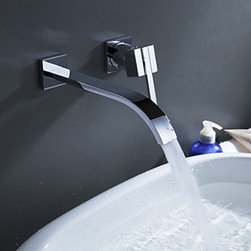 Bathroom Sink Faucets - Contemporary Brass Waterfall Bathroom Faucet - Wall Mount--faucetsmall.com