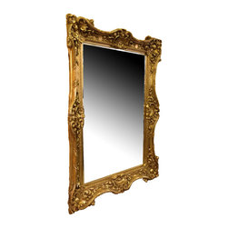 "Antique Reproduction Mirror, Gold - Large Antique Reproduction mirror with fancy ornate carving. The width of the frame is 9"" all around, and the glass is 1/4"" thick with a 1"" bevel around the borders."