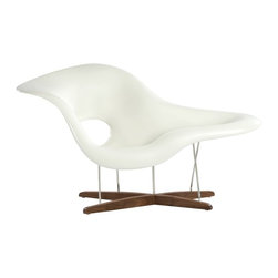 Stilnovo - La Chaise - Matte White - FEC8216 - Shop for Chaises from Hayneedle.com! We re glad to be able to bring this reproduction La Chaise - Matte White to you at an affordable price point - and no doubt the Eames would be too. Originally designed in 1948 for the Museum of Modern Art s International Competition for Low-Cost Furniture Design La Chaise was too expensive to make in large quantities until 1990. Today it boasts a sturdy steel and wood base topped with a sweeping slope-like white seat. Includes 30-day limited manufacturer s warranty.