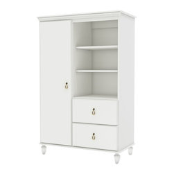 South Shore - South Shore Moonlight Door Chest in Pure White - South Shore - Baby Armoires - 3760038 - The South Shore Moonlight Pure White finish Door Chest provides a harmonious blend meticulously crafted details that helps create a thoroughly pleasing environment for your baby. Youll be glad of the ample room - in a combination of open and closed storage spaces - that's available for you to put away your babys clothes and other items. Its finely worked wooden legs classic lines and antique brass finish metal handles make for a cozy yet stylish look thats perfect for a babys room.
