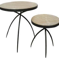 Studio A - Studio A Tripod Transitional Table with Onyx Top - Small X-04108.7 - Hand forged iron base with polished onyx inset.