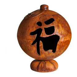 Ohio Flame - Ohio Flame 30 Inch Fire Globe Peace, Happiness, Tranquility with Patina Finish - The Peace, Happiness, Tranquility Asian Inspired Fire Globe by Ohio Flame is a unique Fire Feature and artistic sculpture designed to bring the serenity of Asian design to your outdoor space. This elegant Fire Globe displays a triptych of Japanese kanji for Peace, Happiness and Tranquility. The design mimics the Japanese paper lantern and features a hinged access door with a handle. As part of the Skillman Signature Series, this creative Fire Feature is creation of local artisan, Matt Skillman. He handcrafts each of these unique Fire Globes, ensuring that they are built with quality and durability. With no parts to break or wear out over time, this Artisan Fire Globe is built to last a lifetime. Peace, Happiness, Tranquility is crafted from thick carbon American steel that is sourced from local steel mills. No maintenance is required for this Fire Glove, as it's designed to withstand the elements year-round. Peace, Happiness, Tranquility features a substantial Rain Drain to allow for water drainage. The Patina Finish features a natural iron oxide patina that will gradually darken over time. This Fire Globe is 100% American Made and is crafted by a local artisan. Peace, Happiness, Tranquility is backed by Ohio Flame's Lifetime Warranty, guaranteeing that the Fire Globe will last a lifetime. (Lifetime Warranty guarantees that your Fire GlobeTM will not rust through in your lifetime. Warranty applies to the structural integrity and durability of the steel bowl and welds. No warranty is offered on screens, grates, hinges, paint or finishes. Altering the product or using the Fire GlobeTM in any way other than intended will void the manufacturer's warranty.)
