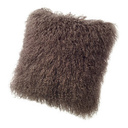Sheepskin Pillows Tibetan Mongolian Lambskin Curly Fur Cushions - Tibetan Lambskin Throw Pillows Fur Cushions 16' Square